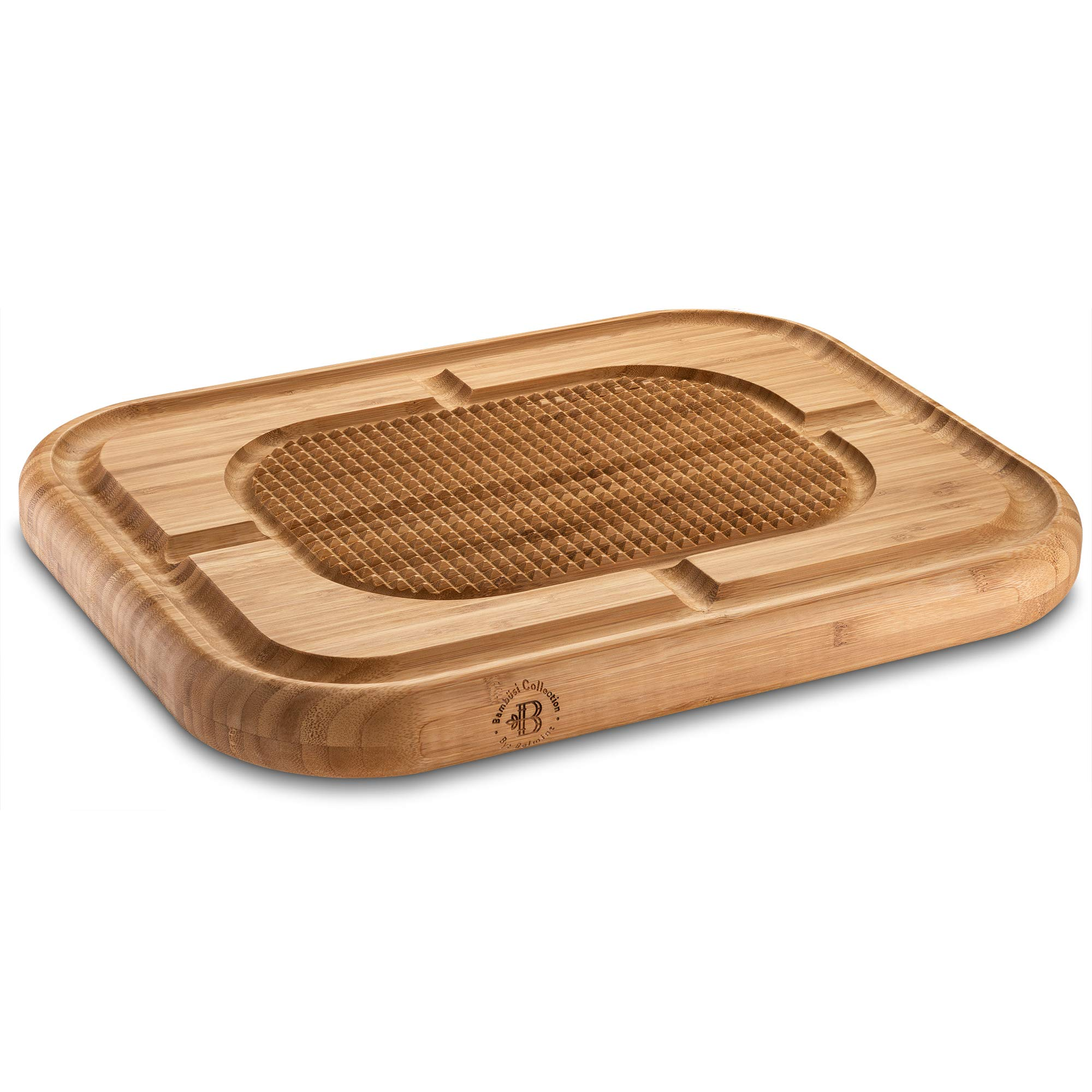 Bambusi Large Carving Cutting Board - 100% Natural Bamboo Meat Serving Tray with Deep Juice Grooves | Stabilizes Beef & Poultry While Chopping | Large 17''x13''