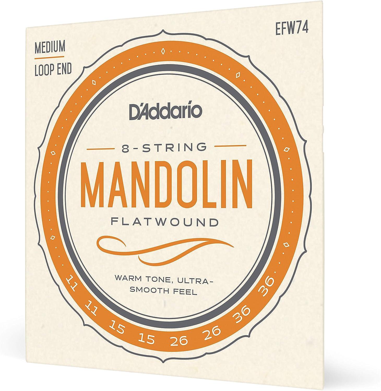 Phosphor Bronze DAddario EFW74 11-36 Medium Flatwound Mandolin Strings