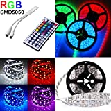 MARSWELL 5M SMD5050 300LEDs RGB LED Strip Light + 44key IR Remote Controller Decoration for Room Shopping Mall Coffee Bar Party Holiday Wedding (Non-waterproof, RGB LED Strip Light+44Key Controller)