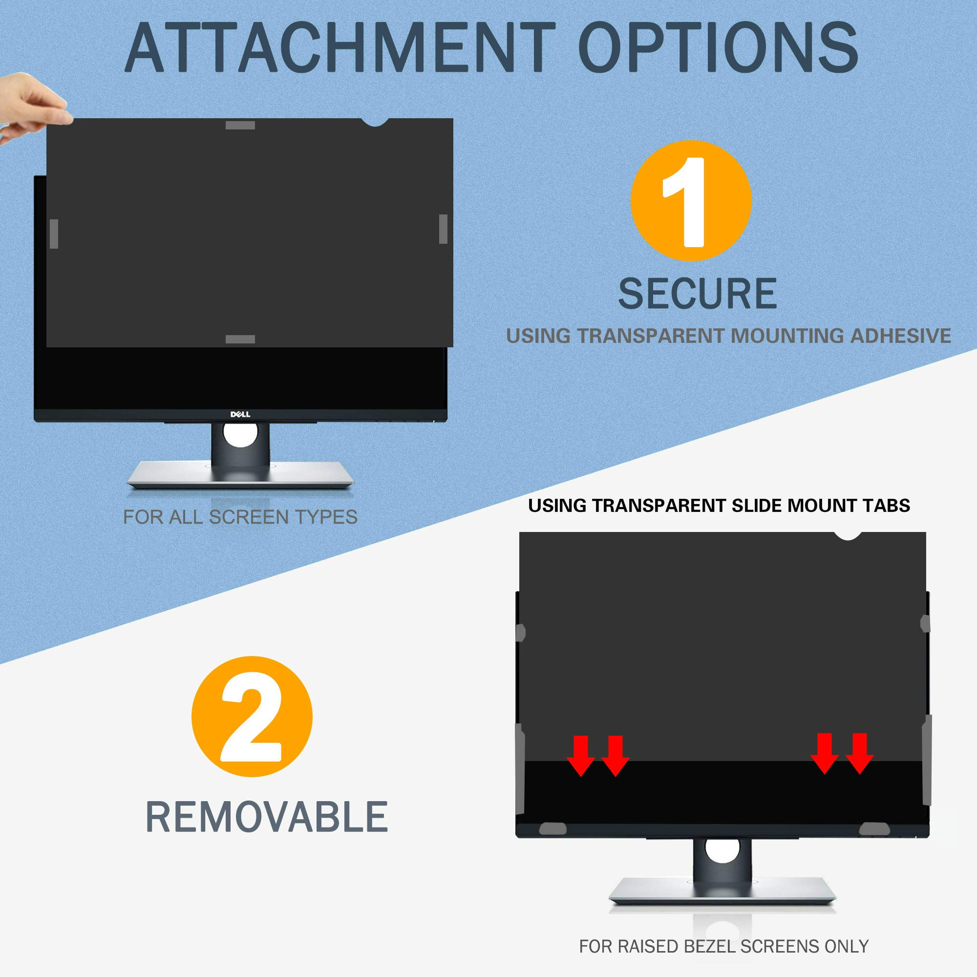 SKYLARKING 27 inches Computer Privacy Screen Filter, Anti-Spy Anti-Glare Screen Protector Film Compatible 27'' Widescreen Computer LCD Monitor with Aspect Ratio 16:9 (598mm x 337mm) by Skylarking (Image #7)
