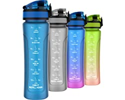 Kids Water Bottles with Times to Drink, 15oz Leak-proof Water Bottle for Kids, BPA Free Tritan Plastic, One-hand Opening Tech