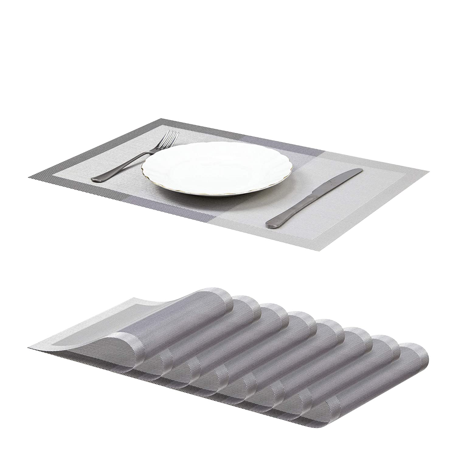 """Jujin 17.7/"""" Placemats Set of 8 Non-Slip Washable PVC Heat Resistant Table Mats for Dining Table Gray"""