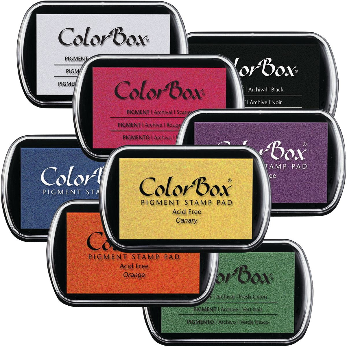 ColorBox 1072 Clearsnap Stamp Pad Set, 3-1/4 x 2-1/4 Size, Assorted Colors (Pack of 8) School Specialty 402822