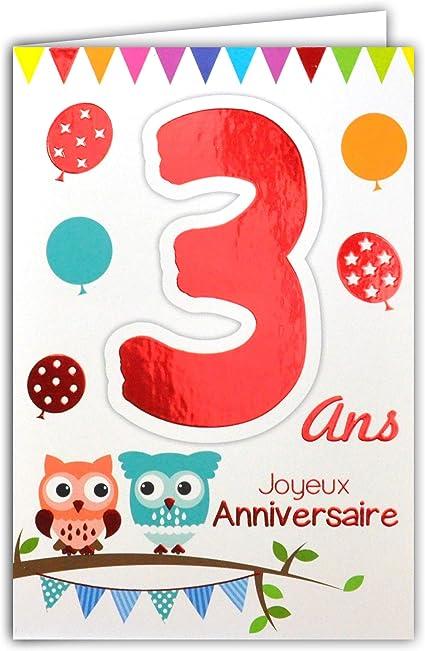 Afie 69 2103 Carte Joyeux Anniversaire 3 Ans Enfant Garcon Fille Chouettes Hiboux Oiseaux Ballons Fanions Amazon Fr Fournitures De Bureau