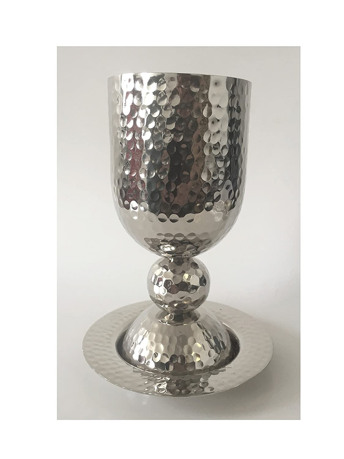 Hammered Metal Design Nickel Plated Kiddush Cup Goblet and Plate Saucer