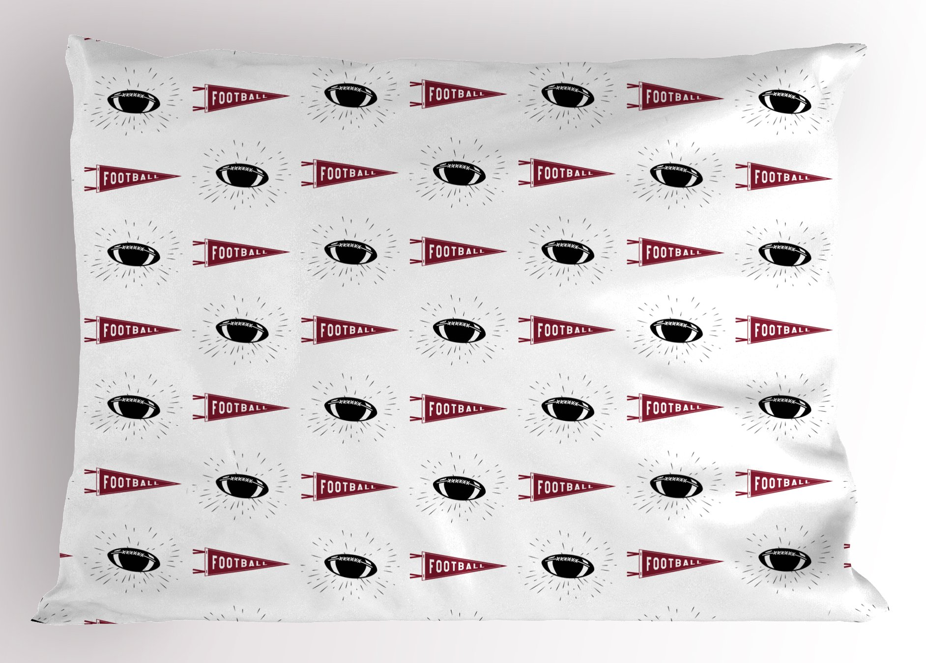 Ambesonne Football Pillow Sham, Sports Symbols Pennants Balls with Retro Burst Effect Graphic Game Icons, Decorative Standard Queen Size Printed Pillowcase, 30 X 20 inches, Maroon Black White