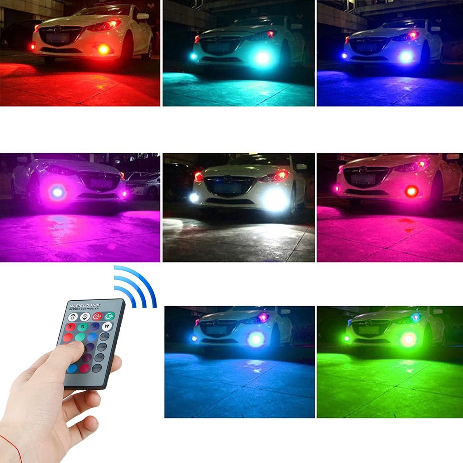 EEEKit 5202 H16 27-SMD IR Remote Multi-Color RGB LED Bulbs Car Driving DRL Fog Lights