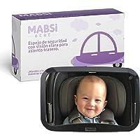 Mabsi Bebé™ Espejo Retrovisor Grande para ver al Bebé en el Asiento Trasero del Auto, Vista del Bebé con el Asiento Hacia Atrás, Perfecto Para Vigilar Recién Nacidos, Seguridad Ajustable e Irrompible