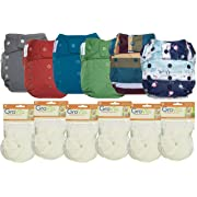 GroVia Hybrid Part Time Package: 6 Shells + 12 No Prep Soaker Pads (Color Mix 1 - Snap)