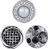 Morella® Damen Click-Button Set 3 Stück Druckknöpfe Schwarz - Weiß