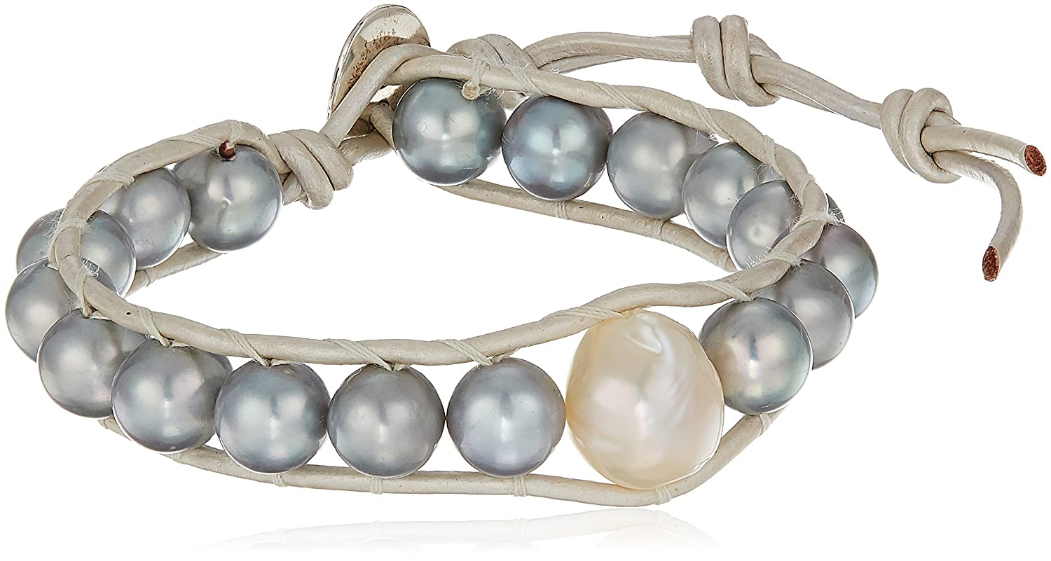 c58d9dad3943 Amazon.com: Chan Luu Womens Grey Pearl Bracelet on Grey Leather,  Adjustable: Jewelry