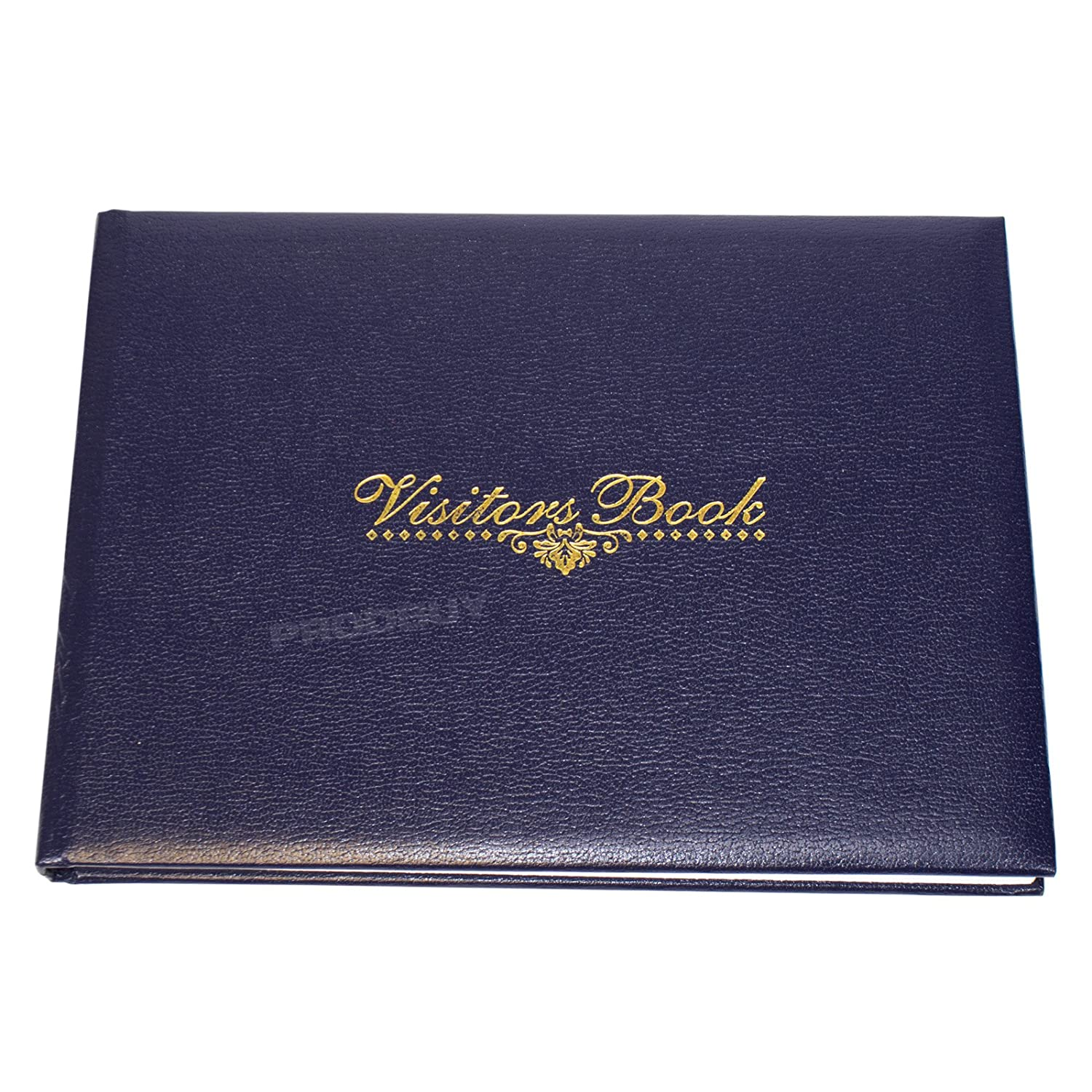 Navy Blue Faux Leather Visitors Book 128 Page Hotel Guest House Reception Record Log Pad
