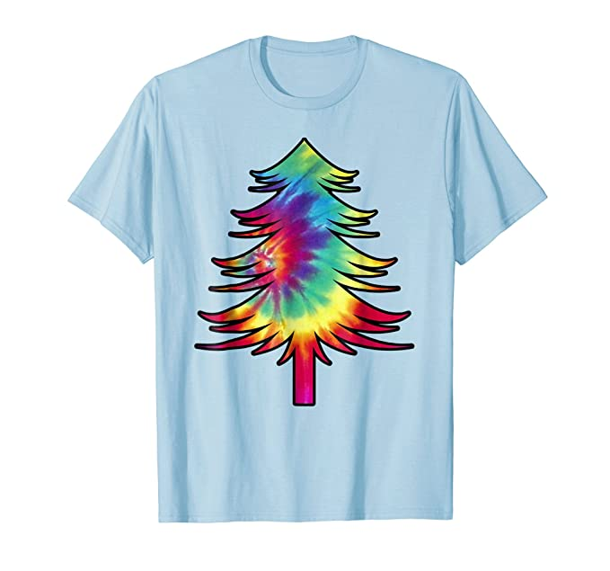 Amazon.com: Tie Dye Christmas Tree Shirt | Colorful Tye Dye T-Shirt ...