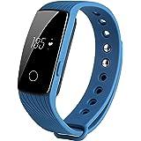 COOSA ID107 Activity Tracker , Fitness Tracker, Braccialetto Monitoraggio Battito Cardiaco e Rilevamento,Wireless Activity Wristband , Touchscreen Oled Intelligente Sport Braccialetto per Android e IOS (1Nero, ID107)