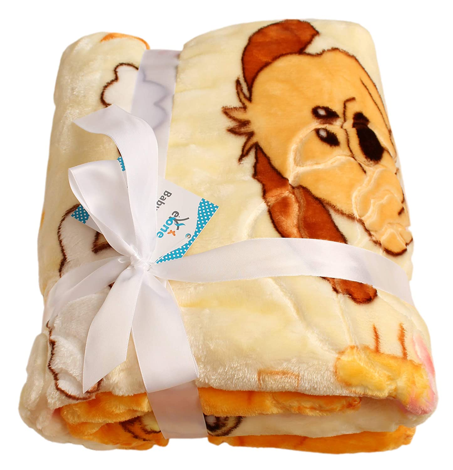 Luxury Boy & Girl Soft, Warm, Plush Baby Blanket Fluffy, Cozy Fleece with Cute Dog for Pram, Cot or Travel, Outdoor (Orange, 100x110cm) eYone Manufacturing