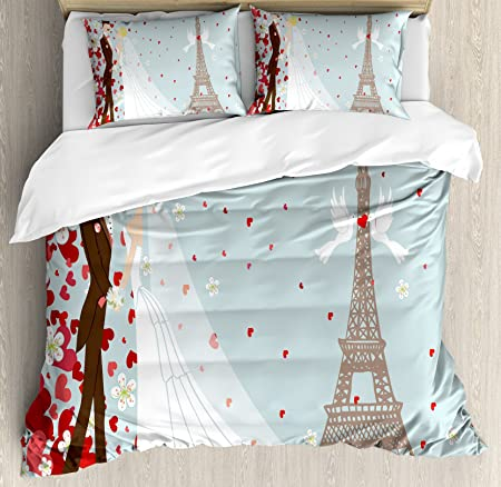 Wedding Decorations Duvet Cover Set By Ambesonne French Couple Hand