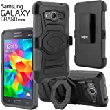 Galaxy Grand Prime Case, CellJoy [Ultra Rugged] {Gray} Samsung G530 Case **ShockProof** Reinforced Impact Shield Bumper Protection Hybrid Cover **Kickstand** [Locking Swivel Belt Clip Holster Combo]
