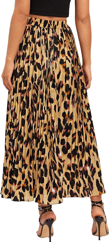 Shein Falda Larga Plisada de Gasa con Estampado de Leopardo ...