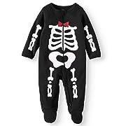 Assorted Policeman, Pumpkin, Cat, Ghost, Skeleton Baby Boys & Girls Halloween Footed Sleeper (6-9 Months, Red/White Skeleton)