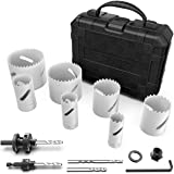 Ryker Hardware Bimetal Hole Saw Kit with Arbors and Replacement Drill Bits, 12 Pc. Set, Heavy Duty Steel Construction…