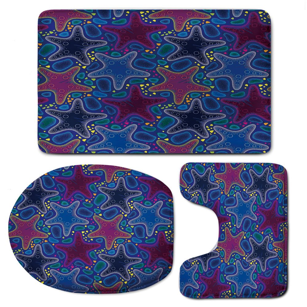 3 Piece Bath Mat Rug Set,Psychedelic-Decor,Bathroom Non-Slip Floor Mat,Dotted-Starfish-and-Pebbles-Marine-Theme-Aquatic-Animal-Pattern-Print,Pedestal Rug + Lid Toilet Cover + Bath Mat,Turquoise-Pink