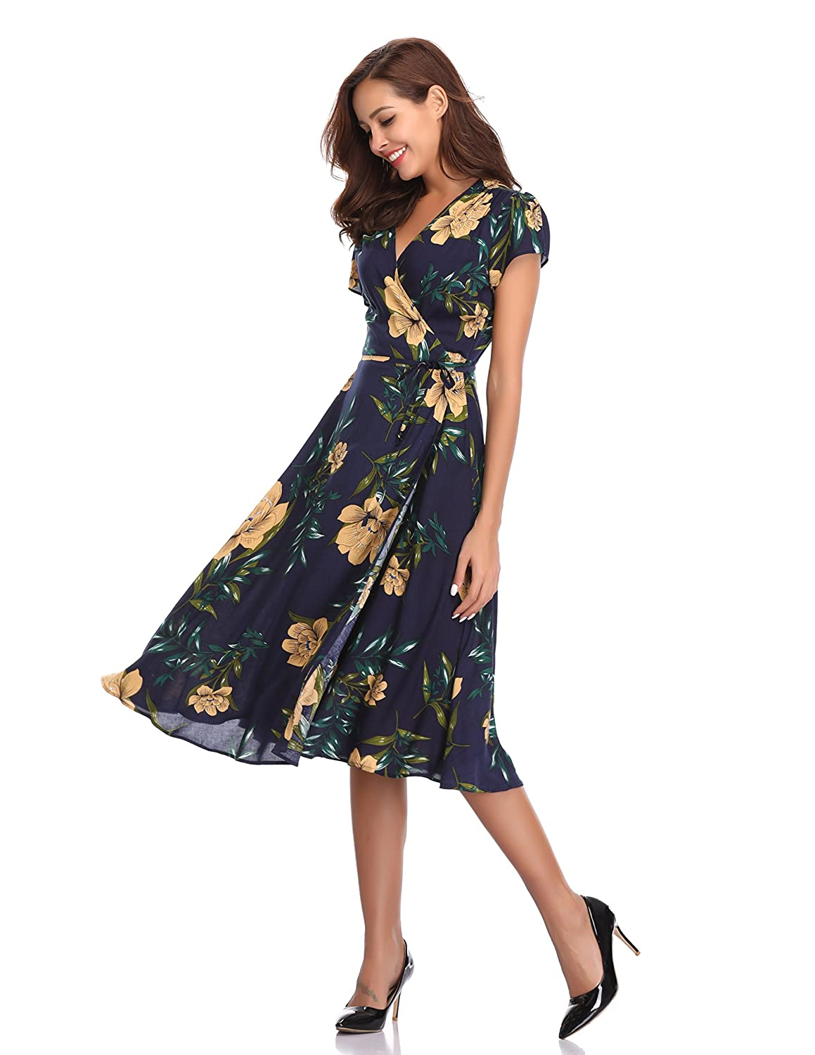 1495c61aa25d Floating Time Women's Floral Print Short Sleeve Midi Wrap Dress(L,  CF42123-2) at Amazon Women's Clothing store: