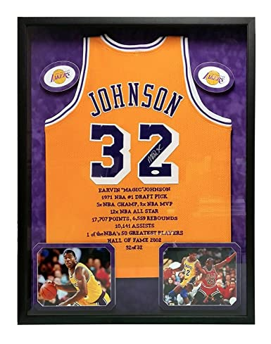 7576ed11b33 Image Unavailable. Image not available for. Color  MAGIC JOHNSON SIGNED  LAKERS JERSEY FRAMED ...