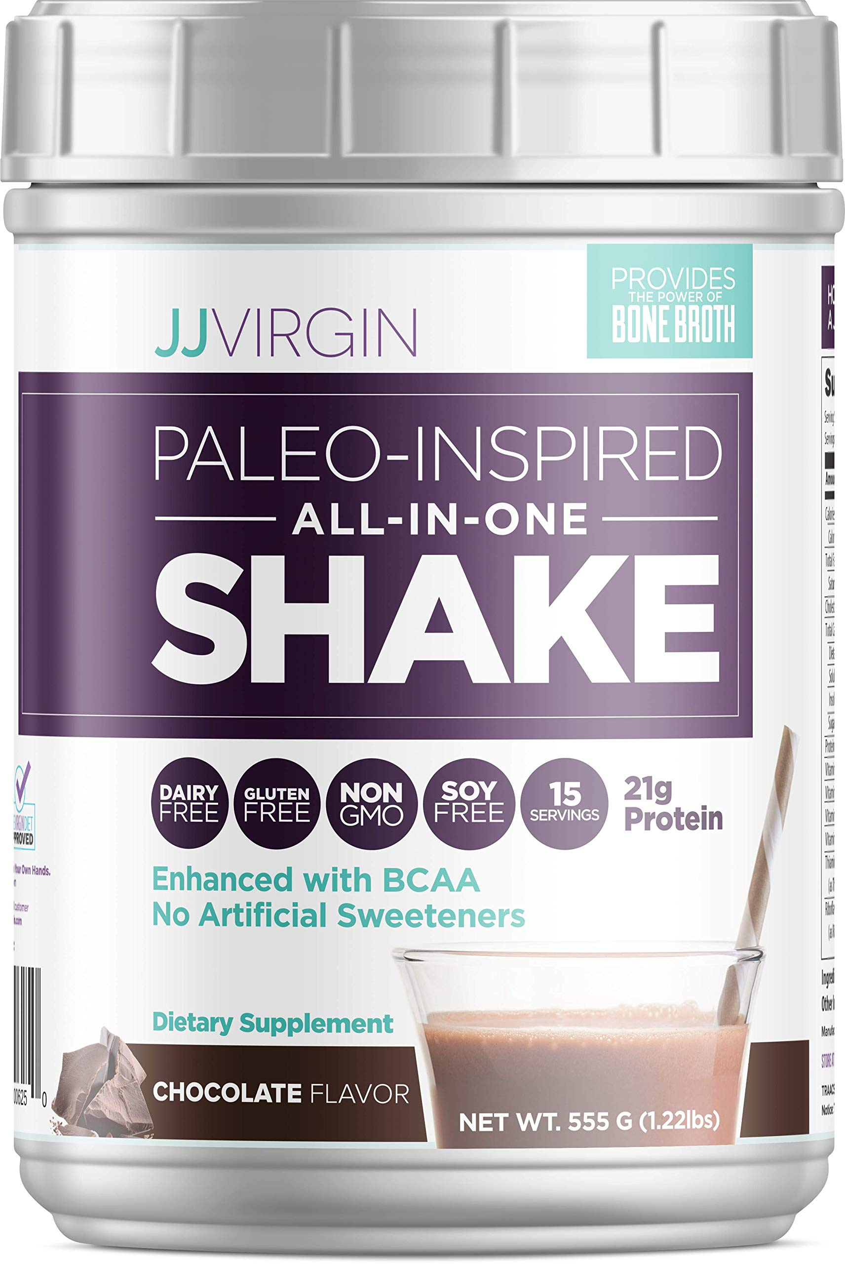 JJ Virgin Chocolate Paleo-Inspired All-in-One Shake - Paleo + Keto Friendly Protein Powder (15 Servings, 1.22 Pounds) by JJ VIRGIN