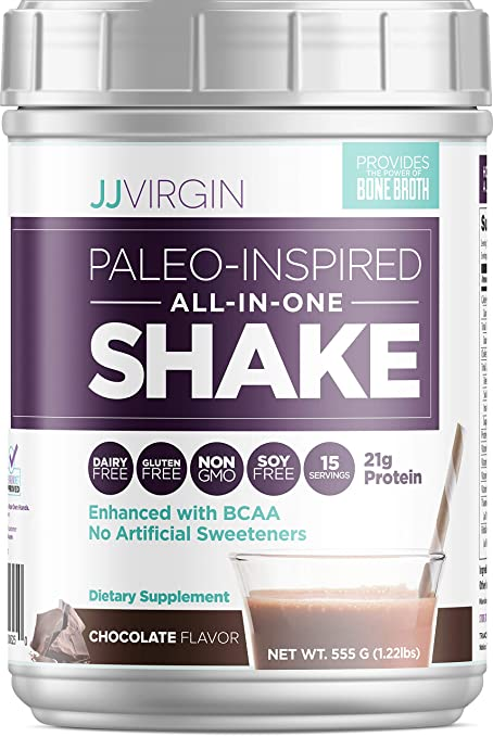 JJ Virgin Chocolate Paleo-Inspired All-in-One Shake - Paleo + Keto Friendly Protein Powder (15 Servings, 1.22 Pounds) best paleo powder
