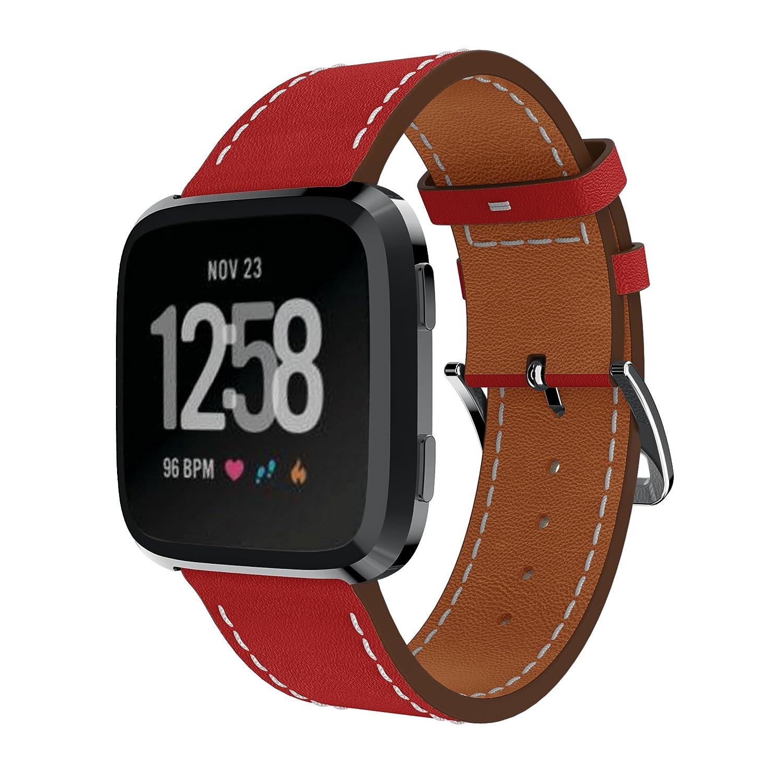 Fitbit Versaバンド、junboer 23 mm本革交換バンドwith美しいユニークなデザインfor Fitbit Versa Smartwatch B07BFB8669 レッド