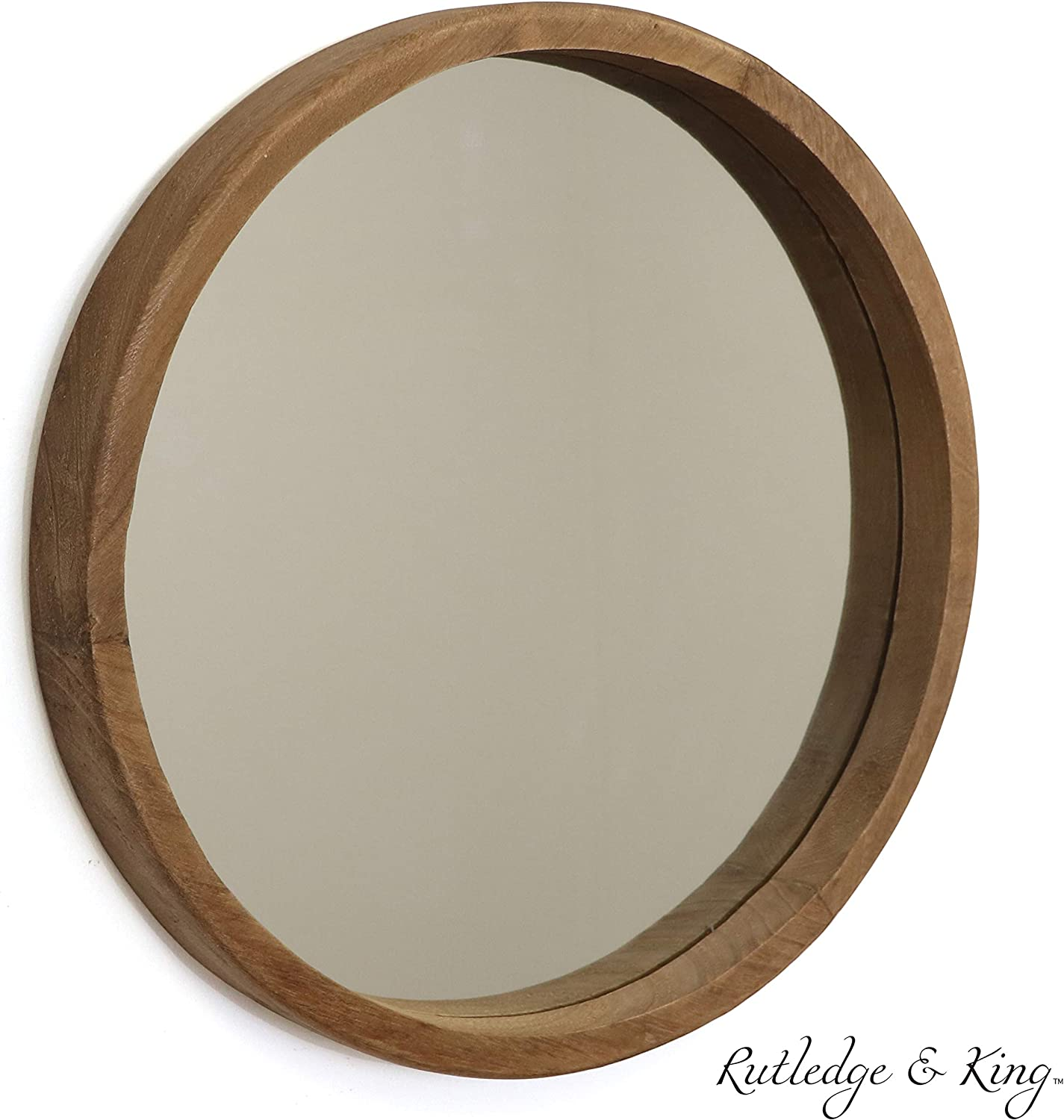 Rutledge & King Riverside Wooden Mirror – Wood Wall Mirror – Rustic Round Mirror – Large Decorative Circle Mirrors for…