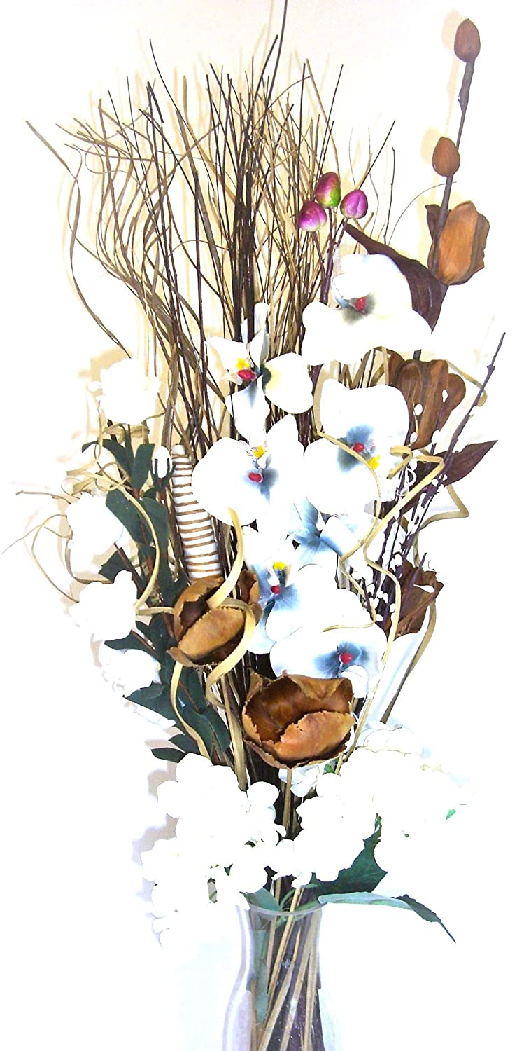 Link Products Dried & Artificial Flower Bouquets 85Cm Tall Ready For A Vase (Silver & Black)