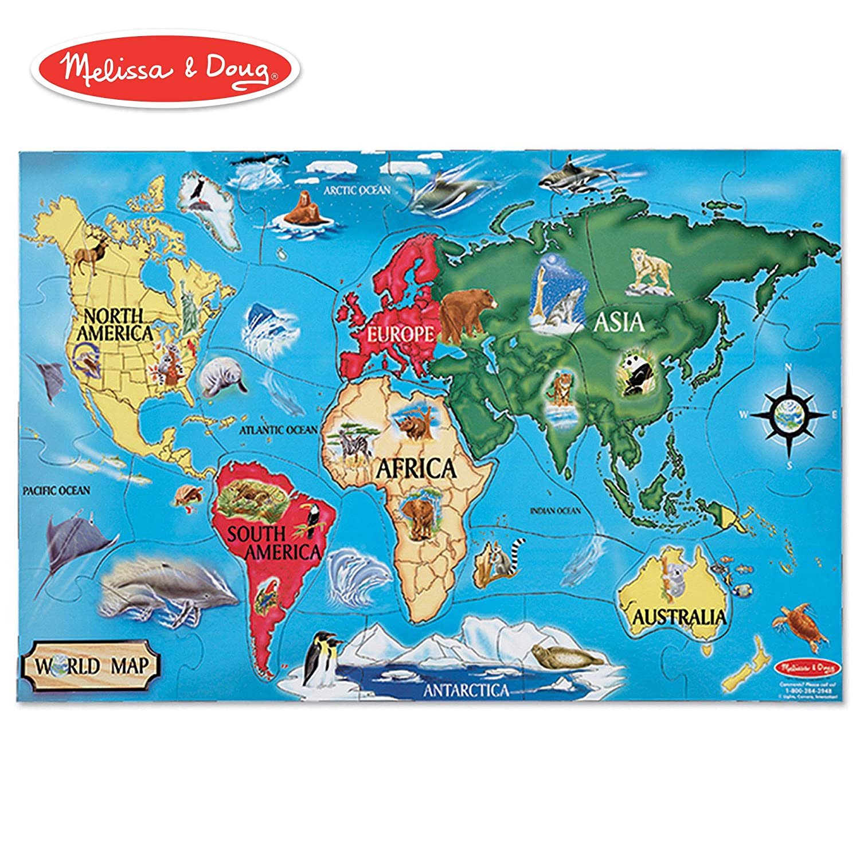 Amazon Com Melissa Doug World Map Jumbo Jigsaw Floor Puzzle Wipe