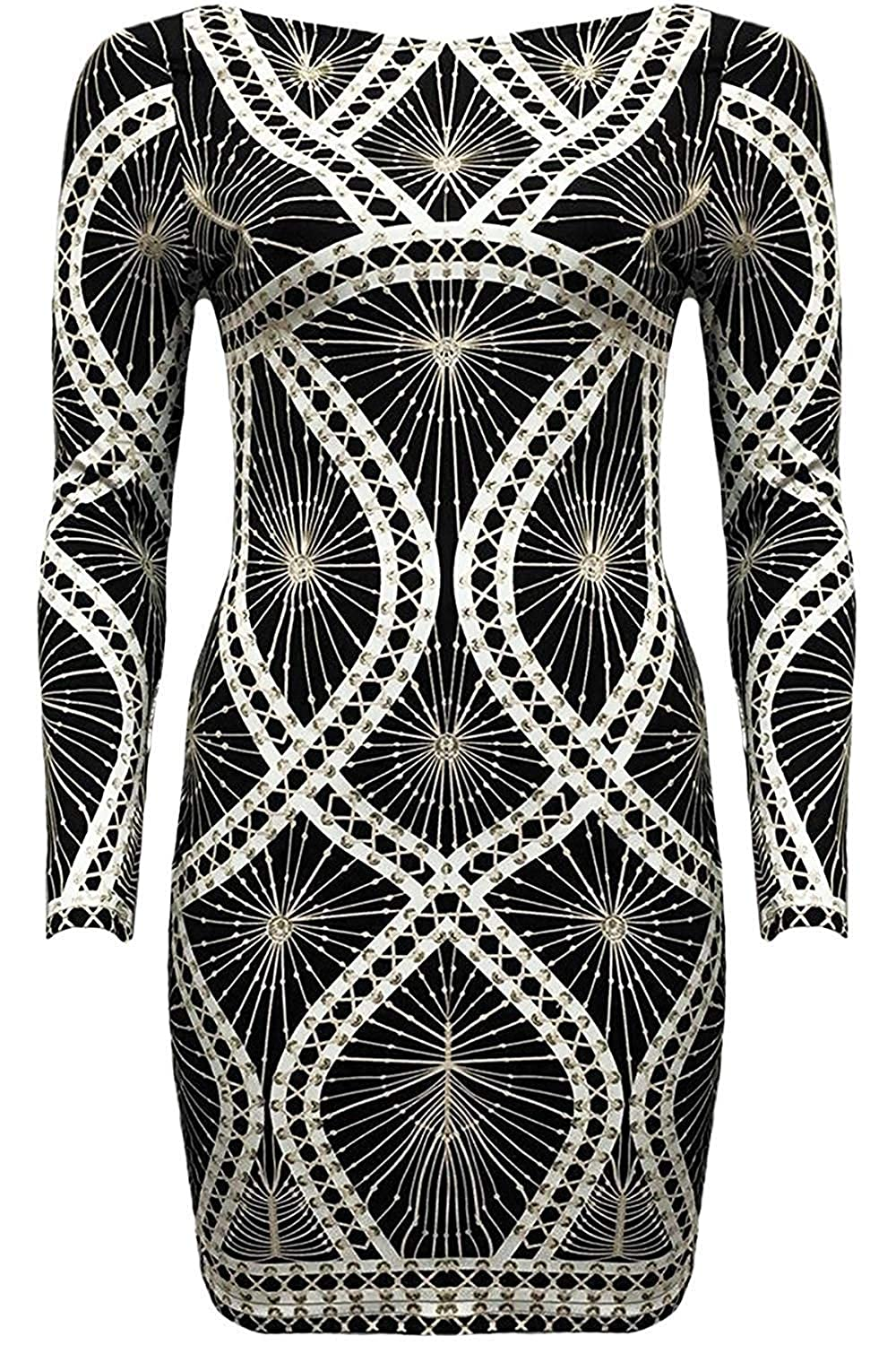 Fantasia Boutique Ladies Celeb Style Web Stitch Lace Up Design Embellished Scuba Bodycon Dress