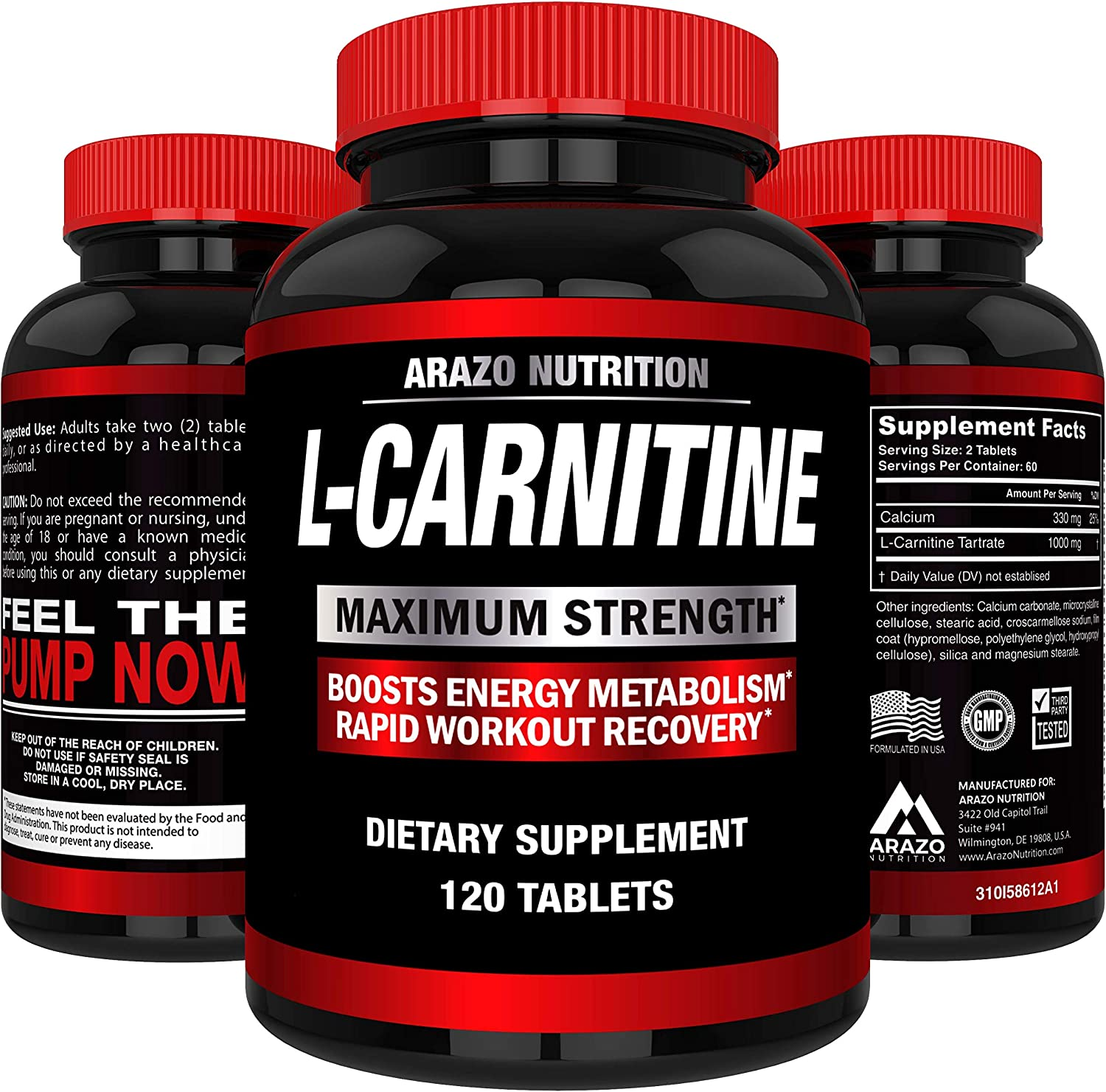 Super Strength L-Carnitine 1000MG Servings Plus Calcium for Boosted Metabolism and Improved Muscle Gain - Arazo Nutrition USA: Health & Personal Care