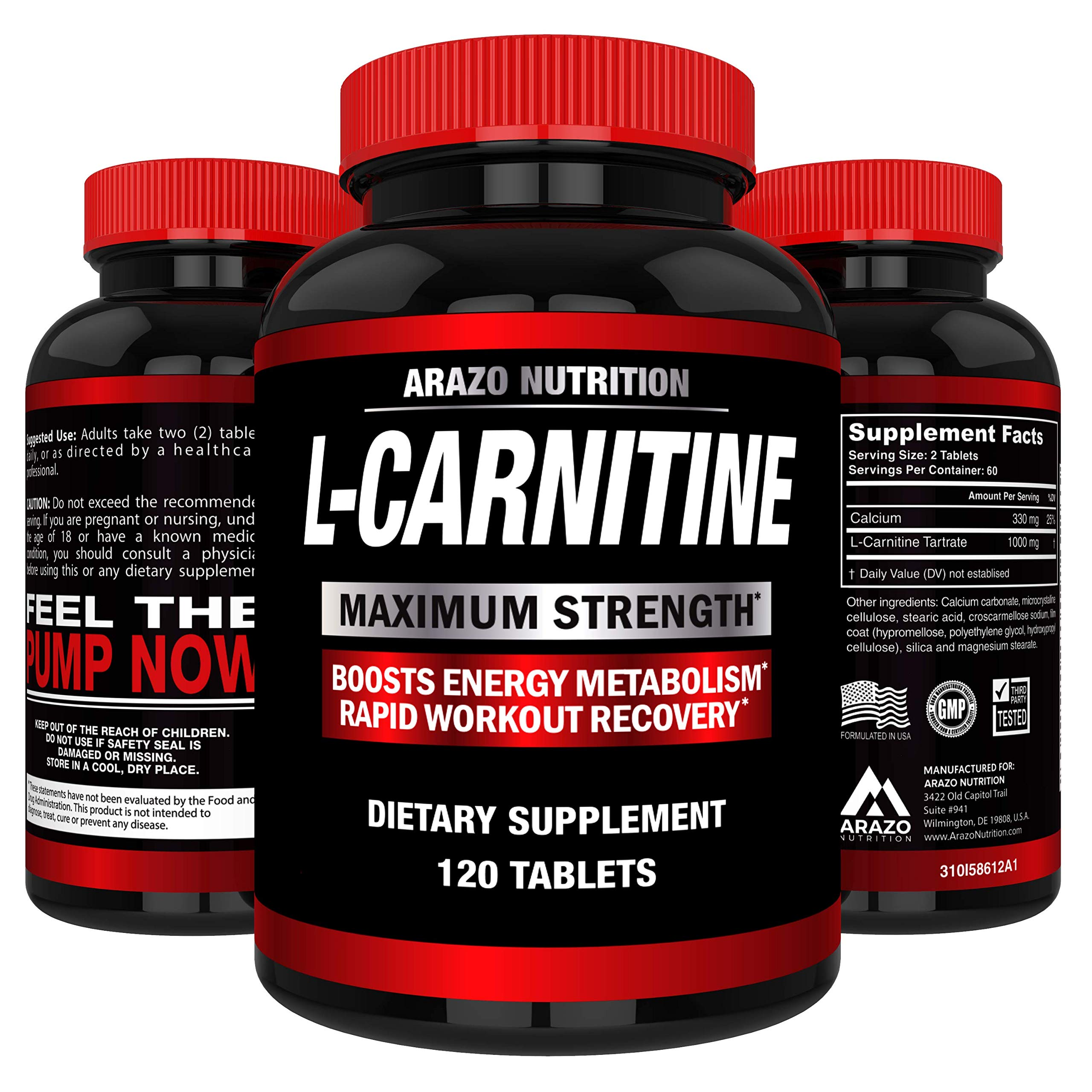 L-Carnitine 1000mg Servings 120 Tablets - Carnitine Amino Acid - Arazo Nutrition USA by Arazo Nutrition