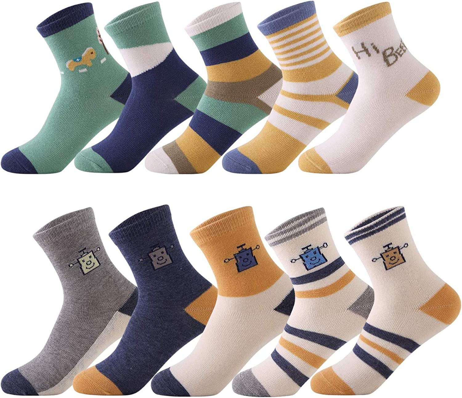 10 Pairs Ankle Cotton Socks for Unisex Baby Kids 1-12 Years