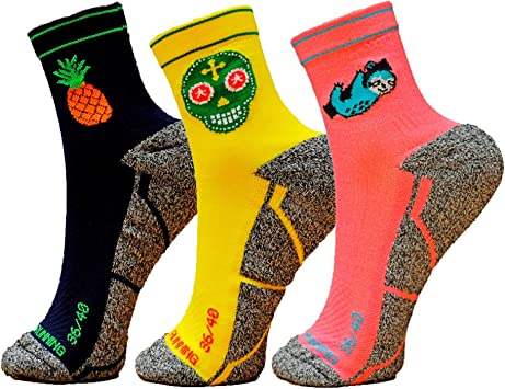 HOOPOE Pack Calcetines Running Mix, 3 Pares, Hombres, Mujer, Divertidos, Pineapple #Lazy, Skully Tallas 36-45: Amazon.es: Deportes y aire libre