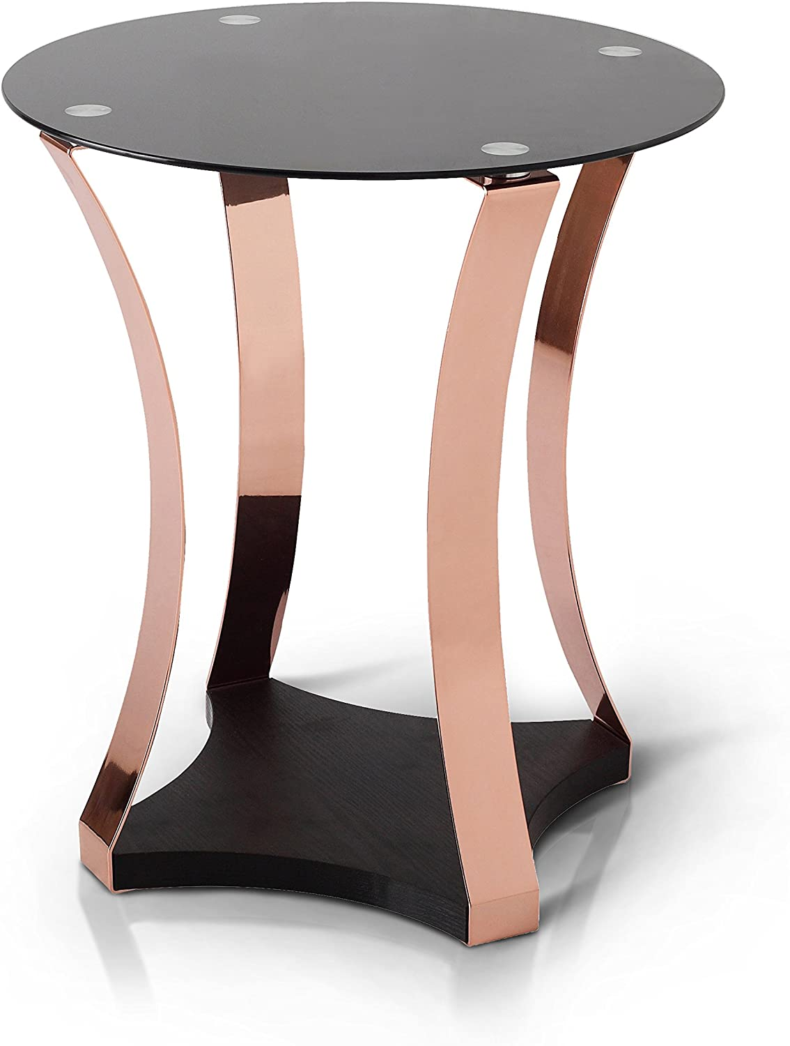 Furniture of America Faye Contemporary Round Side End Table with Center Support Beams and 4 Slim Metal Posts, Black and Rose Gold