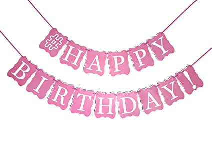amazon com pink happy birthday banner decorations pink and gold