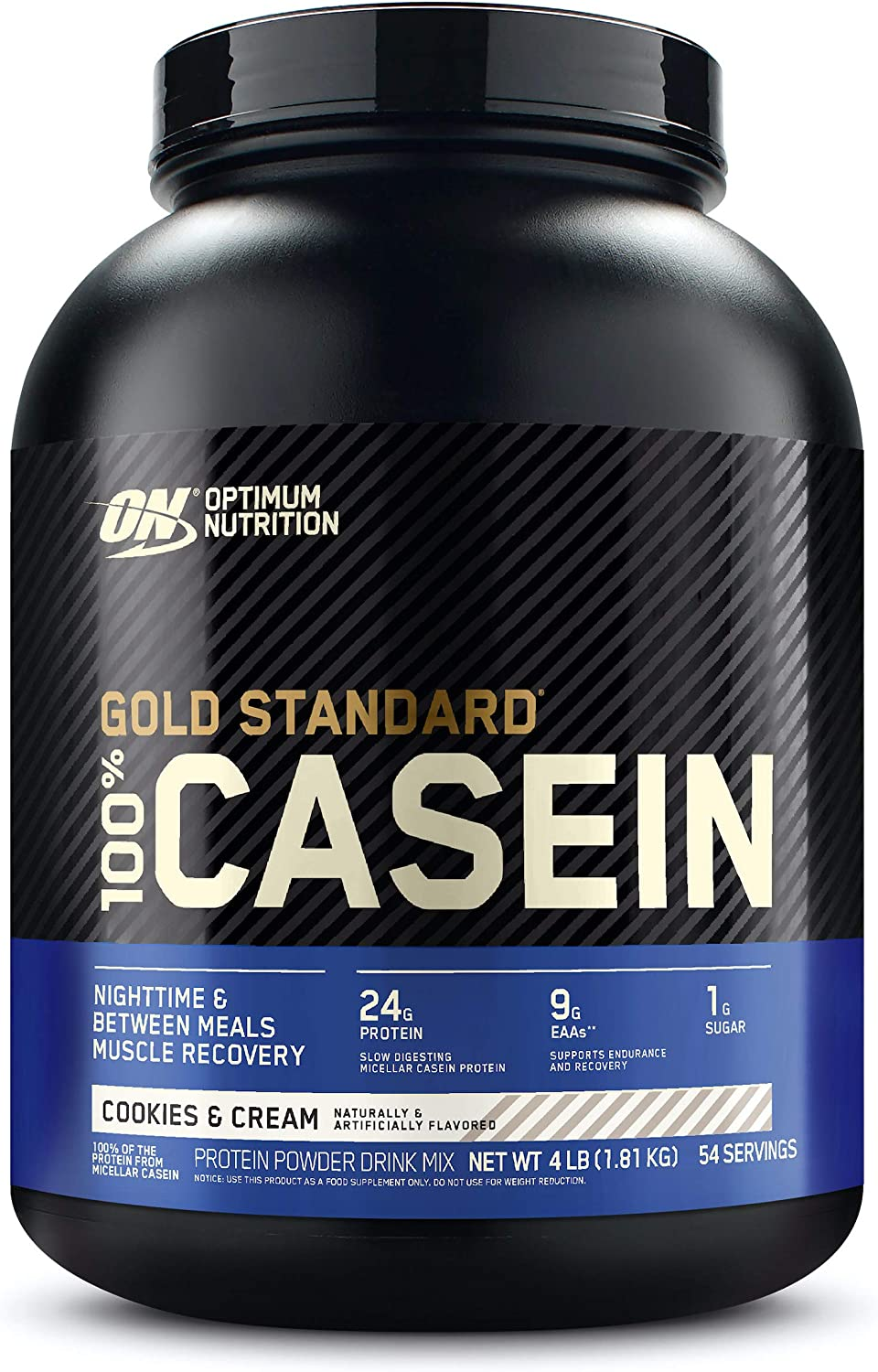 Optimum Nutrition Gold Standard 100% Micellar Casein Protein Powder, Slow Digesting, Helps Keep You Full, Overnight Muscle Recovery, Cookies and Cream, 4 Pound (Packaging May Vary): Health & Personal Care