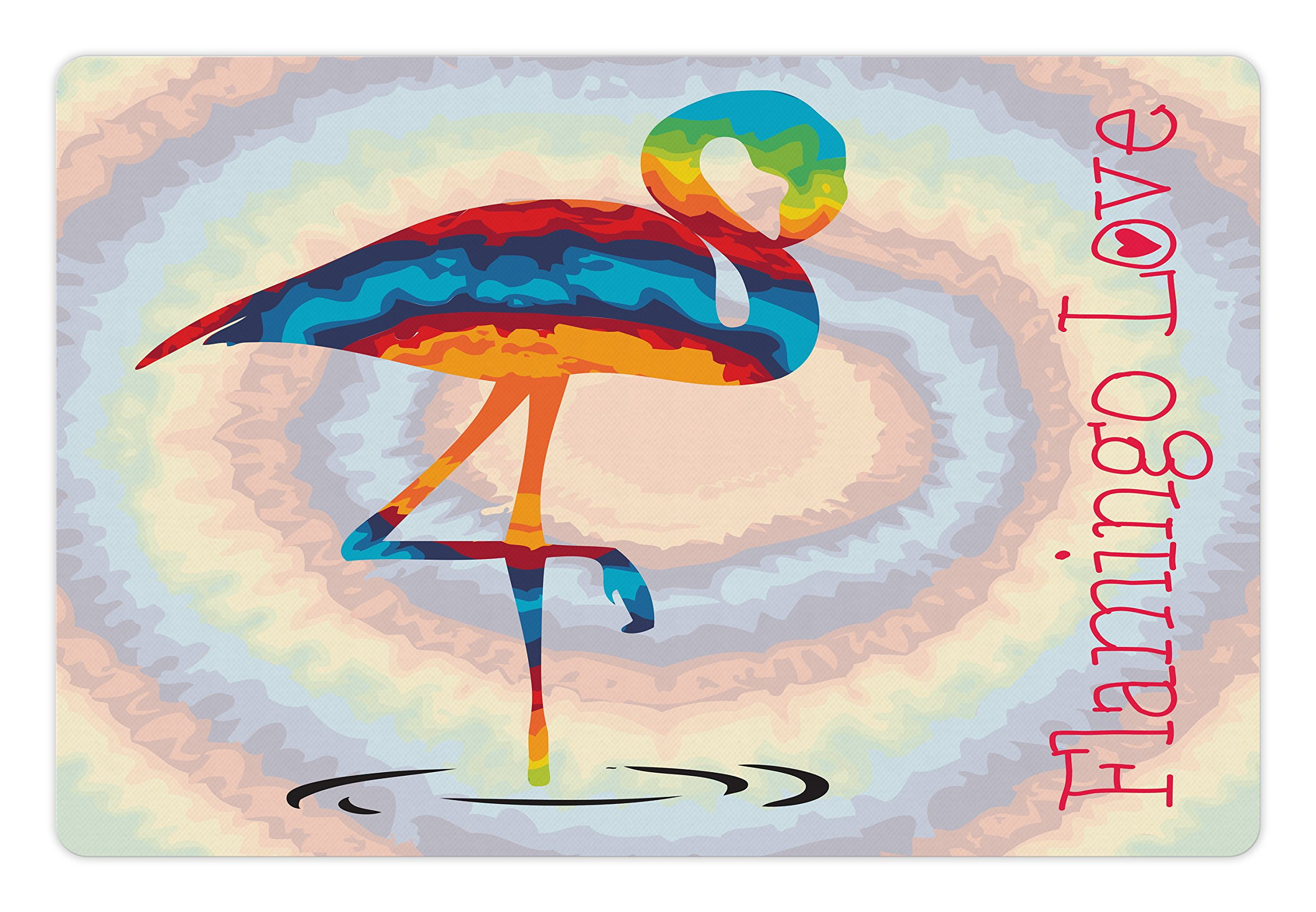 Ambesonne Flamingo Pet Mat for Food and Water, Single Flamingo Rainbow Colors Tie Dye Style Background Animal World Artwork Print, Rectangle Non-Slip Rubber Mat for Dogs and Cats, Multicolor