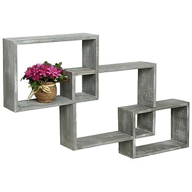 MyGift Wall-Mounted Weathered Grey Wood Interlocking Shadow Boxes, Floating Box Display Shelves, Set of 3