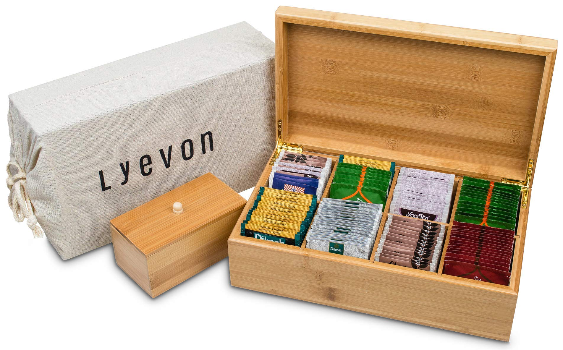 Lyevon Tea Storage Organizer Bamboo Chest Box with 8 Adjustable Compartments for Assorted Tea Bags or Spices -holds 125 Tea Bags by Lyevon (Image #8)
