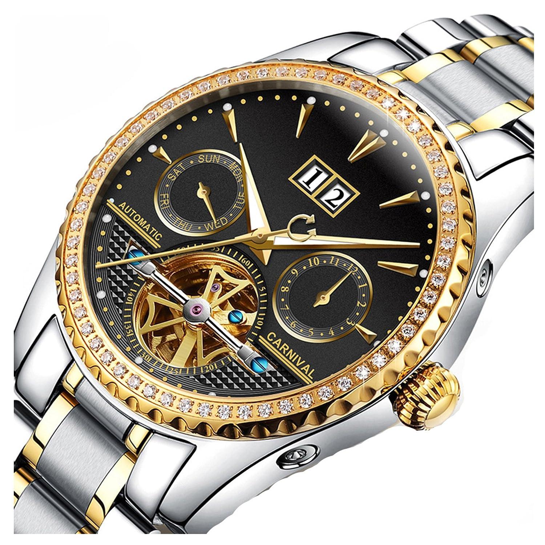 ビジネス自動機械ダイヤモンドステンレススチール日付スケルトン防水光メンズLuxury Watch Silver Gold Black B075SJWPJ5Silver Gold Black