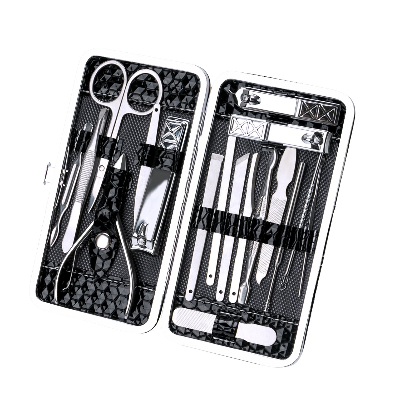 Manicure Pedicure Set Nail Clippers, ALLIMITY 18 Pieces Stainless Steel Manicure Kit, Pedicure Kit, Grooming Kit, Professional Hygiene Kit Nail Tools with Portable Travel Case Beauty Care Tools