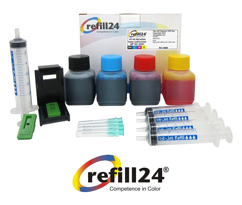 Kit de Recarga para Cartuchos de Tinta HP 62, 62 XL Negro y Color ...