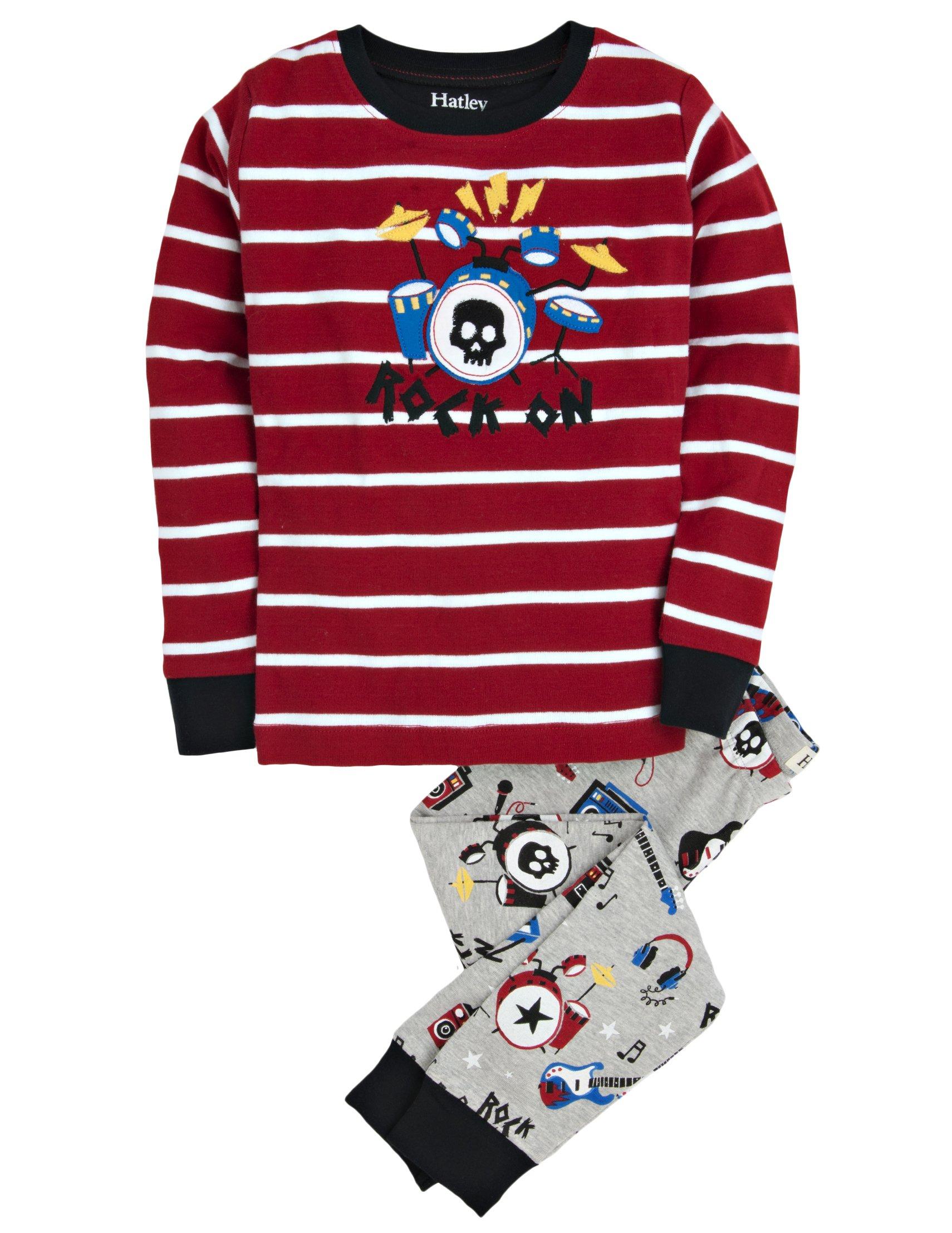 Hatley Little Boys' Pajama Set Applique Rock Band, Grey, 3