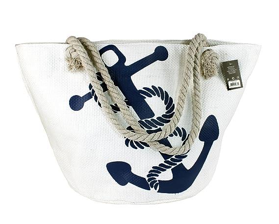 ANGELINA Bolsa de Playa y Compras Grande con Cremallera Asas de Cuerda para Hombro Mujer, Estampados, Colores y Diseños Variados (18-004 blanco)