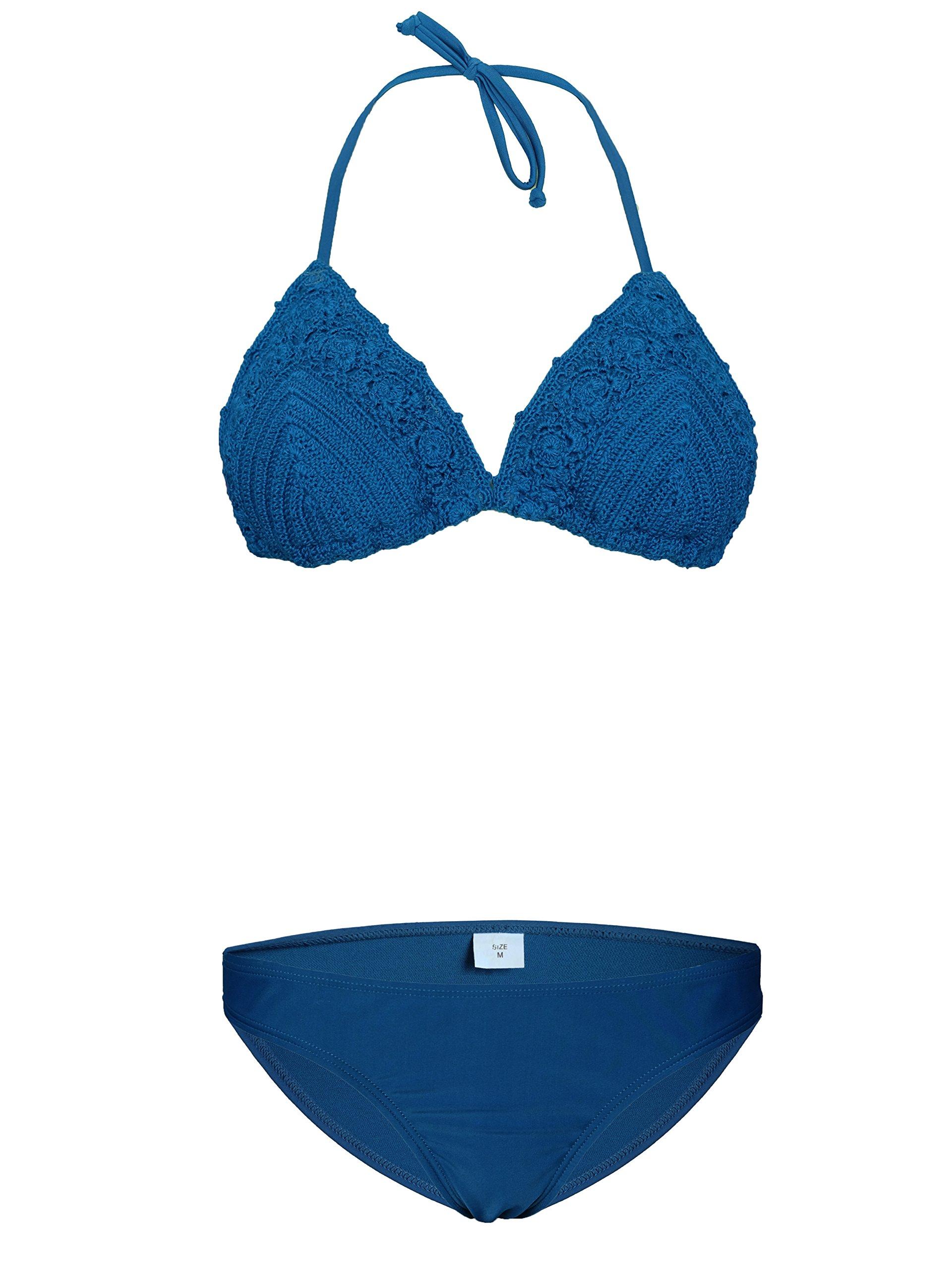 ROSIELARS Women Swimsuit Sexy Fashion Women Bikini Swimwear Two Piece Crochet Bottom Triangle Bathing Suit (M, Blue)